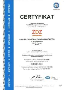 Certyfikat Jakości ISO 9001 (Certyfikat TÜV SÜD wdrożenia Systemu Zarządzania Jakością ISO 9001:2015)